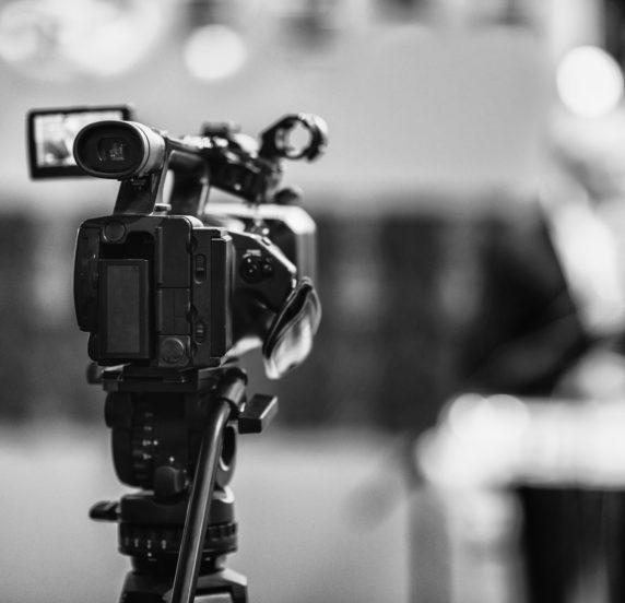 Dettaglio di una videocamera professionale